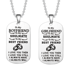 Stainless Steel Couple Necklace To My Husband/wife/boyfriend Dog Tag Pendant Love Forever Jewelry Valentines Day Present
