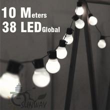 Светодиодный светильник 10 м с белым шаром G50 38 шт. для внутреннего, наружного, садового, вечерние украшения для патио и Подключаемая вилка входит в комплект