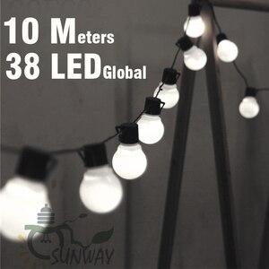 Image 1 - 10 メートル Led ストリングライト 38 個 G50 白グローブ屋内屋外ガーデンパーティーパティオの装飾と接続可能プラグ付属