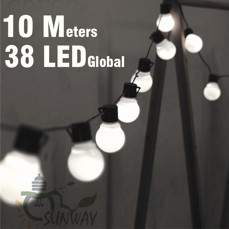 10M LED String Lights With 38Pcs G50 White Globe For Indoor Outdoor Garden Party Patio Decoration And Connectable Plug Included