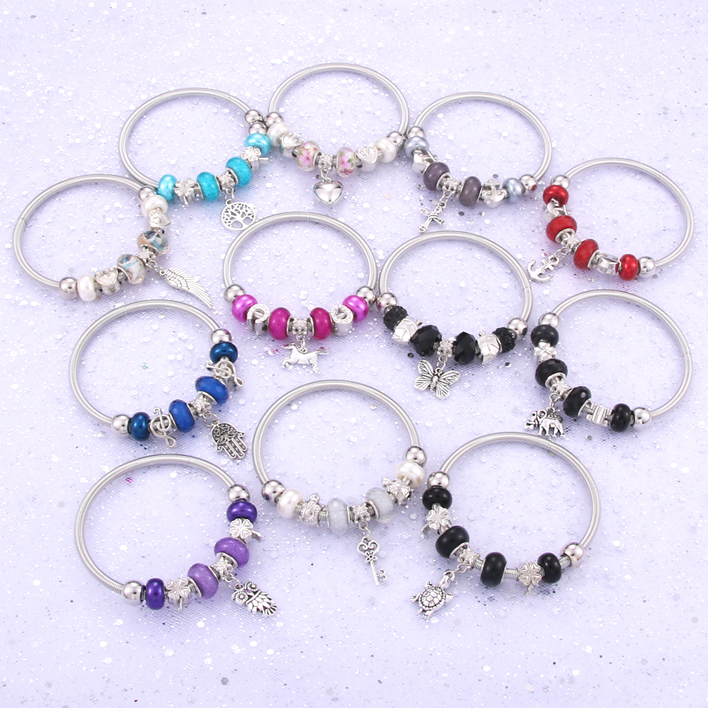 Charm Bracelets Bangle Jewelry Glass-Beads Mixed-Style Elastic Metal Trendy Antique Women