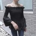 Мода Черный Сексуальная Slash Шеи Блузка Рубашка Дамы Блузки Упругой Рог Рукав женские Рубашки С Длинными Рукавами Топы