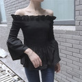 Fashion Black Sexy Slash Neck Blouse Shirt Ladies Blouses Elastic Horn Sleeve Women's Long Sleeved Shirts Tops