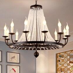 Amerikaanse woonkamer kroonluchter Europese stijl antieke iron ronde kristal gepersonaliseerde art stijl warme restaurant slaapkamer lampen-in Hanglampen van Licht & verlichting op