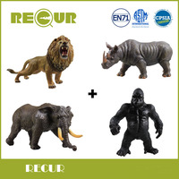 4 pcs/set Recur Toys High Quality African jungle Wild Animal Model Hand Painted Soft PVC Figures Toys Gift Collection For Boys