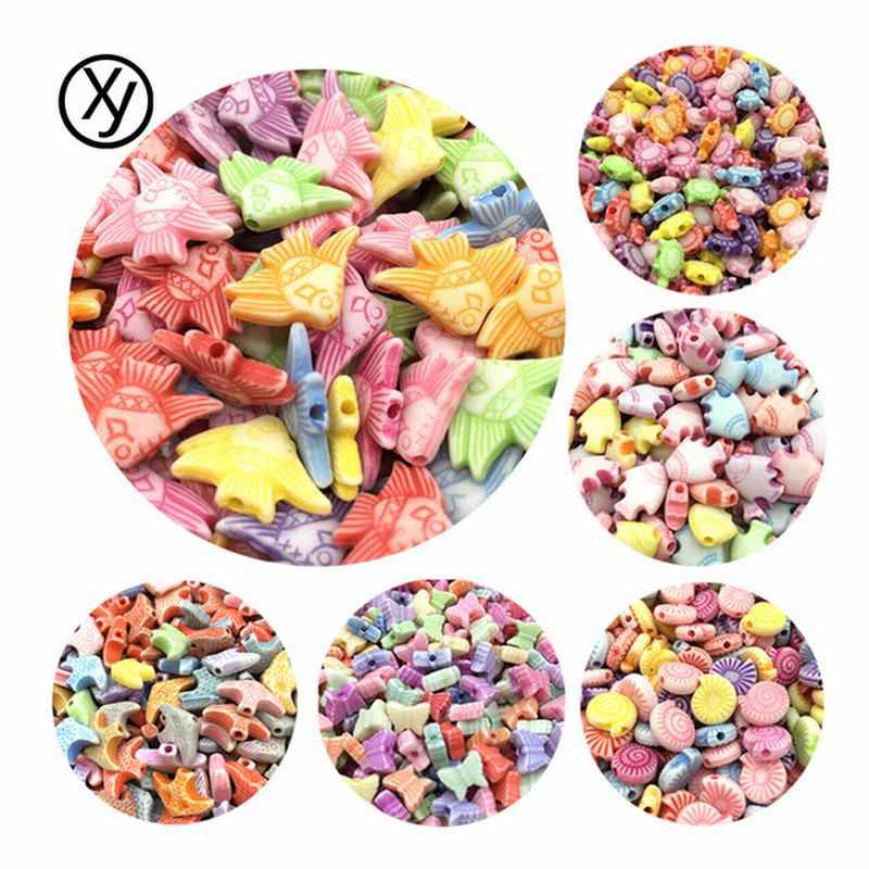 Random Delivery DIY 100pcs/Lot Cheap Animals Accessories Shape Acrylic Beads Handmade Bracelet Jewelry Making Wholesale Color