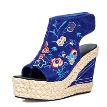 Embroidery Wedge Sandals for Women