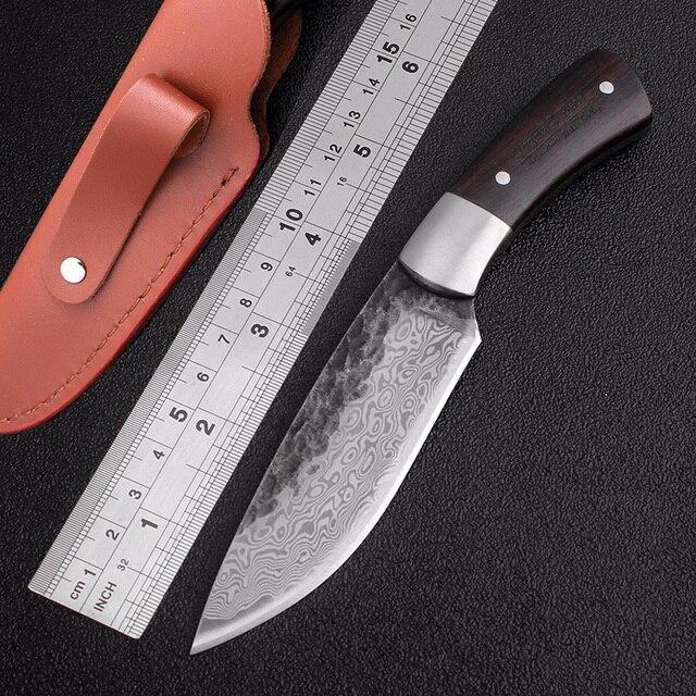 Stal wysokowęglowa wzór damasceński ostrze stałe nóż myśliwski ostry ręcznie kute ostrze Camping Tactical Survival narzędzie ratunkowe