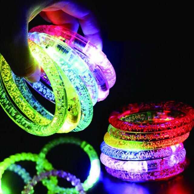 50 pçs/lote led traje colorido led light up pulseira piscando acrílico brilhante pulseira brinquedos rave neon/led festa decoração suprimentos