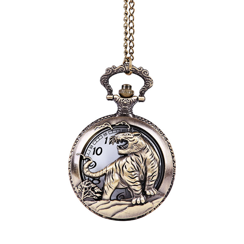 3154    The Large Bronze Carved Hollow Tiger Pocket Watch  Chinese Zodiac Like Tigers Dashing Down A Mountain Watches