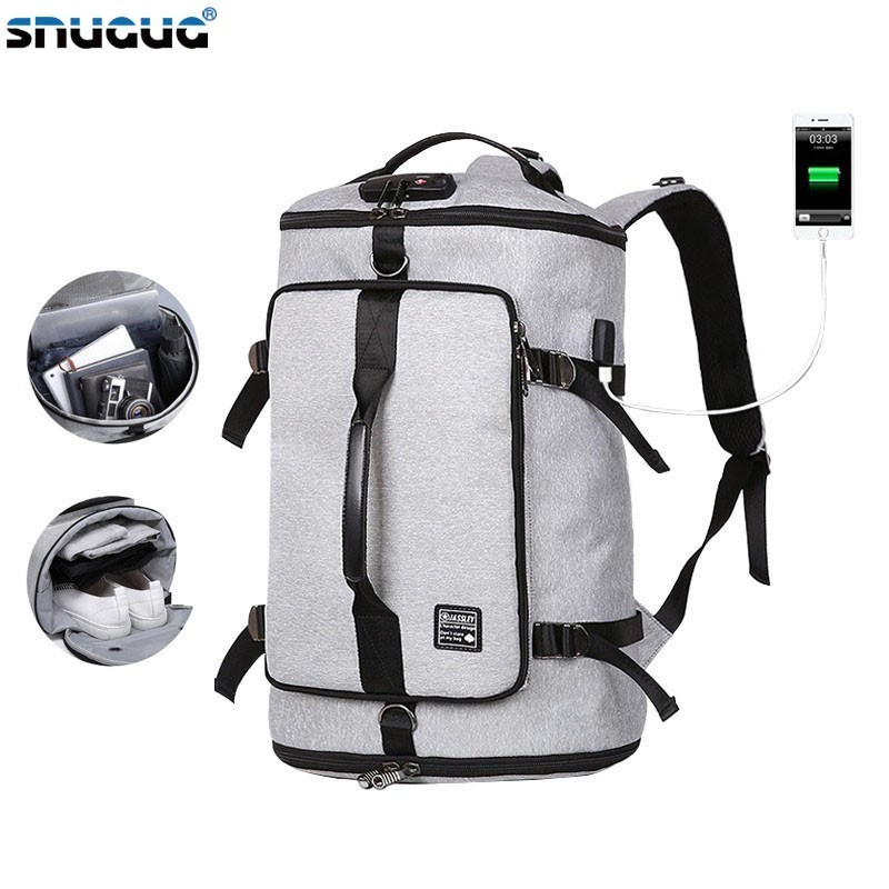 SNUGUG Men USB Charge Computer Bag Anti theft Notebook Backpack 15 6 Inch Waterproof Oxford Laptop