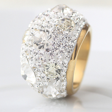 Clear Austrian Crystal Wedding Rings With Gold Color Stainless Steel Rings Jewelry