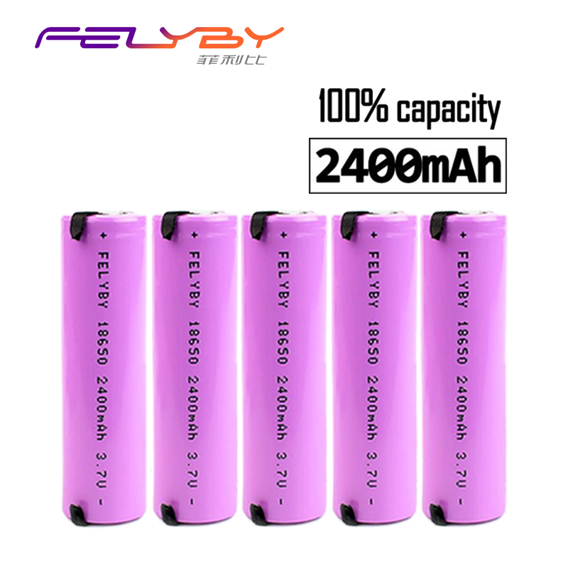 Free Shipping!FELYBY 1-5pcs 3.7V 2400mAh Li-ion 18650 Nicd Lithium Rechargeable battery for flashlight charging batteries