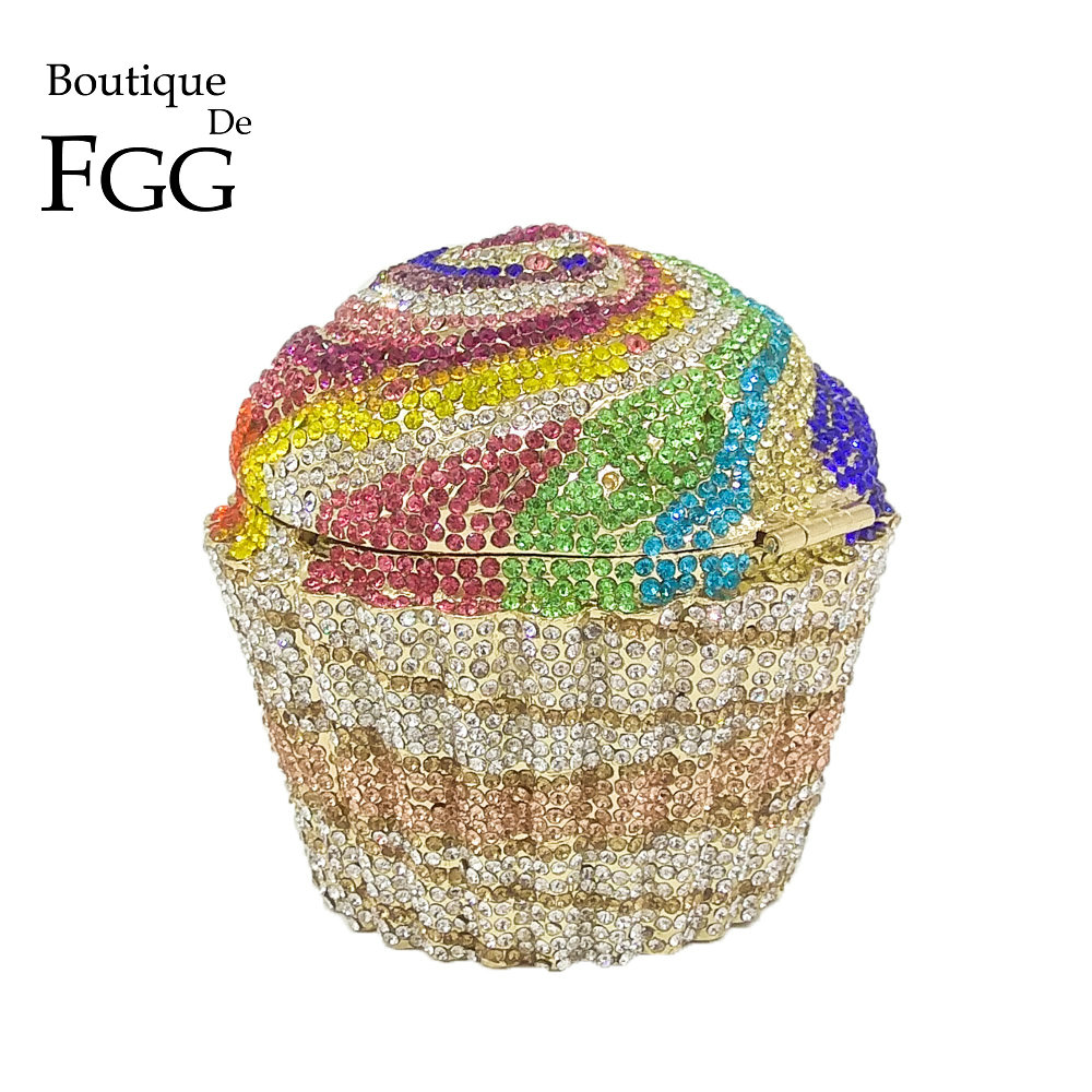 Boutique De FGG Women Fashion Cupcake Crystal Clutch Evening Bags Wedding Party Bridal Diamond Minaudiere Handbag Clutches Purse boutique de fgg hot pink fuchsia crystal diamond women evening purse minaudiere clutch bag bridal wedding clutches chain handbag