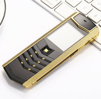 Russian keyboard button Luxury metal+leather housing original china gsm dual sim Cell Phones bluetooth mobile phone H mobile V1