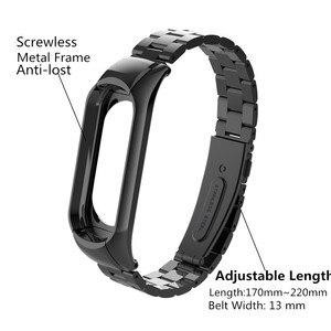 Image 2 - Mi band 3 mi band 4 ersatz Metall Strap handgelenk strap Edelstahl Armband Armbänder MiBand 3 strap für Xiaomi mi band 4