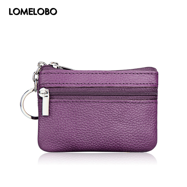 Lomelobo Women Small Genuine Leather Coin Wallets Lady Zipper Bags Children Storage Pocket Female Purses