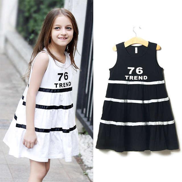 placeholder 2017 Latest Fashion Dress For Girls Cotton Frock Design Letter  Printed Stripe For Age 4 5 29f7de4b50ed