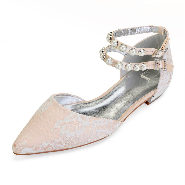 Creativesugar lady pointed toe D orsay sweet lace flats double ankle strap  pearl stud woman shoes bridal prom party low heels 00623a0d8d84