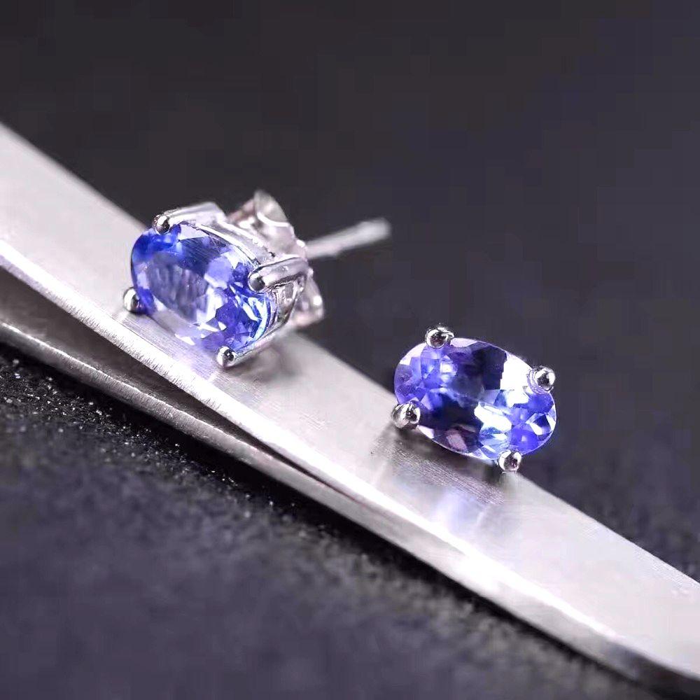 Uloveido Natural Tanzanite Earrings for Women 925 Sterling Silver 4 6mm 2 Pcs Oval Gemstone Wedding