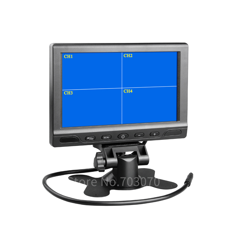 Free Shipping 7Inch Car Monitor 4CH Video Input 12V-24V Quad Split TFT LCD Headrest Car Monitor For Rear Camera For Bus Truck