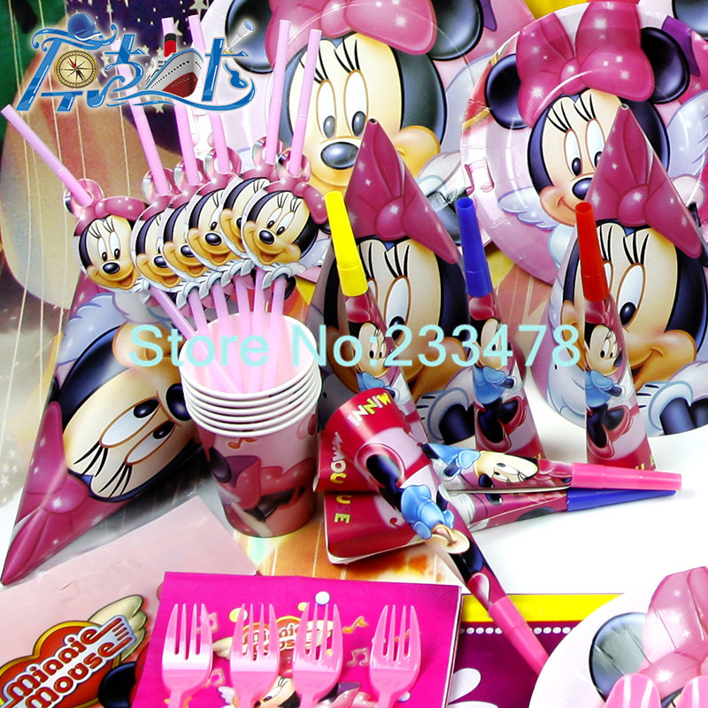 New 78pcs Kids Birthday Party Decoration Set Minnie Mouse Theme Supplies Baby Pack AW 1605 In Disposable Tableware From