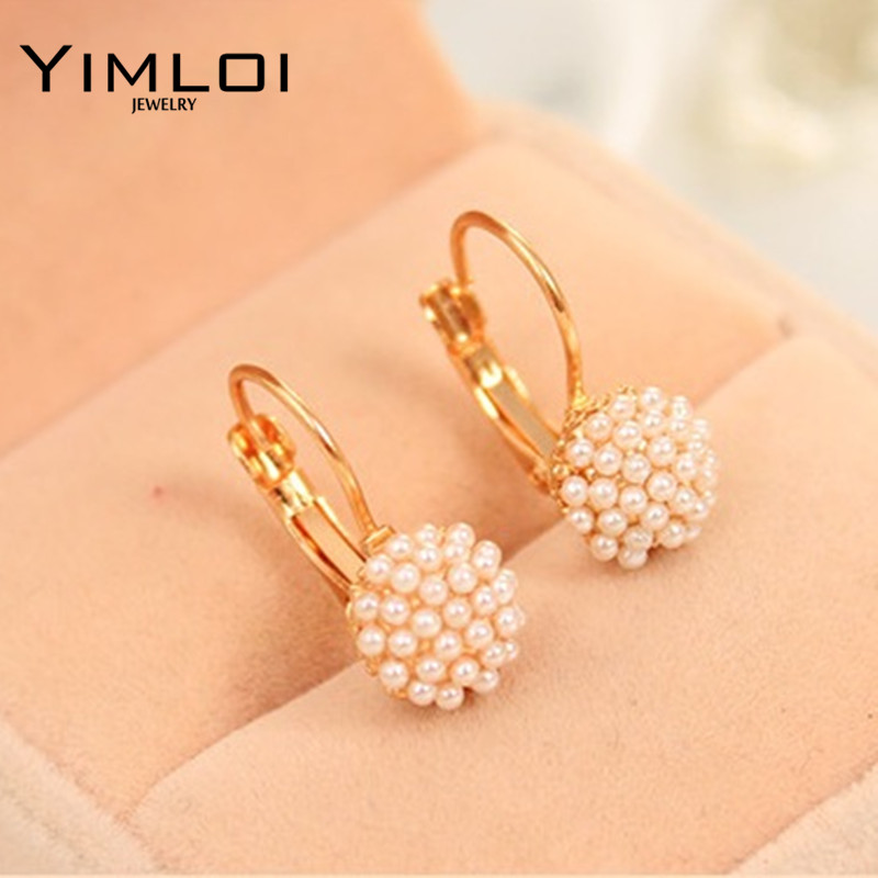 BB New Fashion Hot Lovely Wedding Ear Cuff Gold Color Round Imitation Pearl Beads Stud Earrings for Women Girls Vintage Jewelry