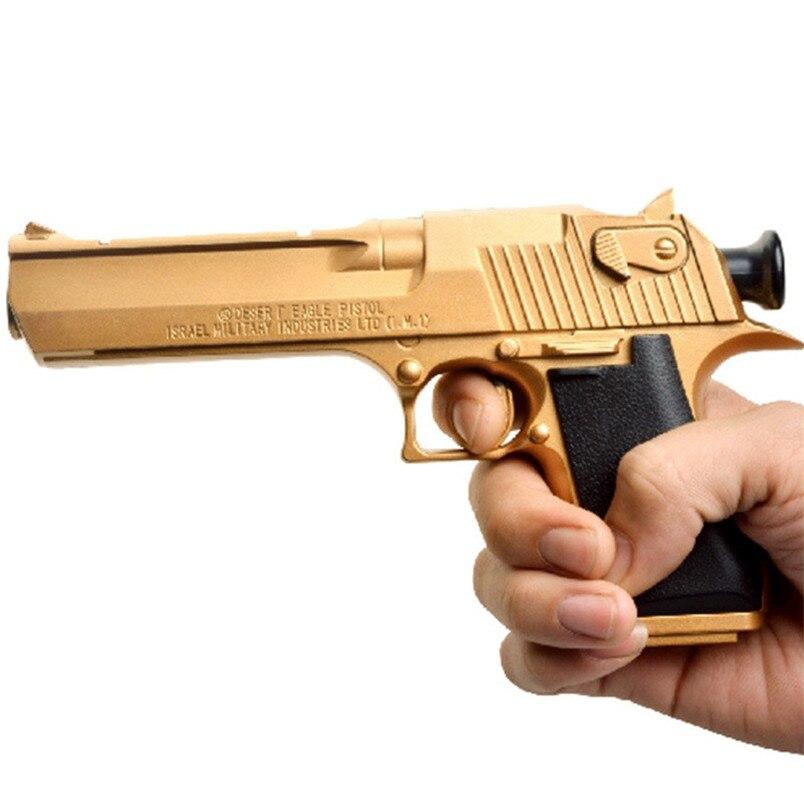 AbbyFrank oro edición pistola de juguete con balas suaves pequeño lechón Desert Eagle juego al aire libre juguete para niños regalos para niños