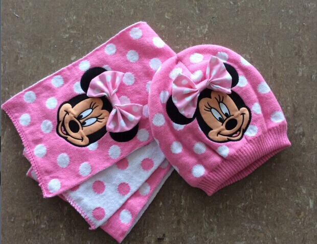 retail winter girls knitted scarf and hat 2pcs set kids hat set hello kitty design pink color