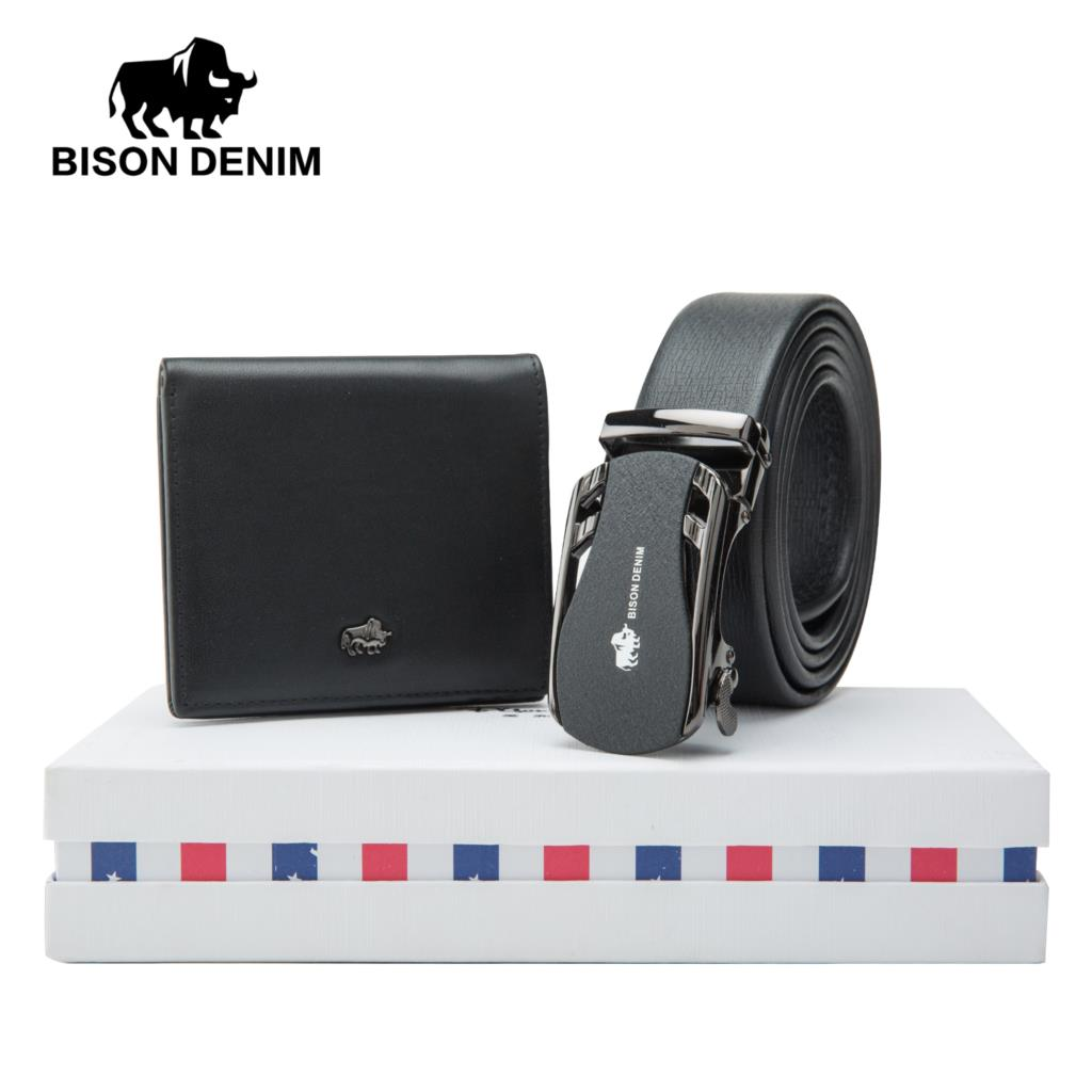 Diplomatic Bison Denim Mens Belt Gift Box With Wallet Genuine Leather Male Belts Strap Purse Set Gift For Friend Husband Father N71319 Refreshing And Enriching The Saliva Apparel Accessories