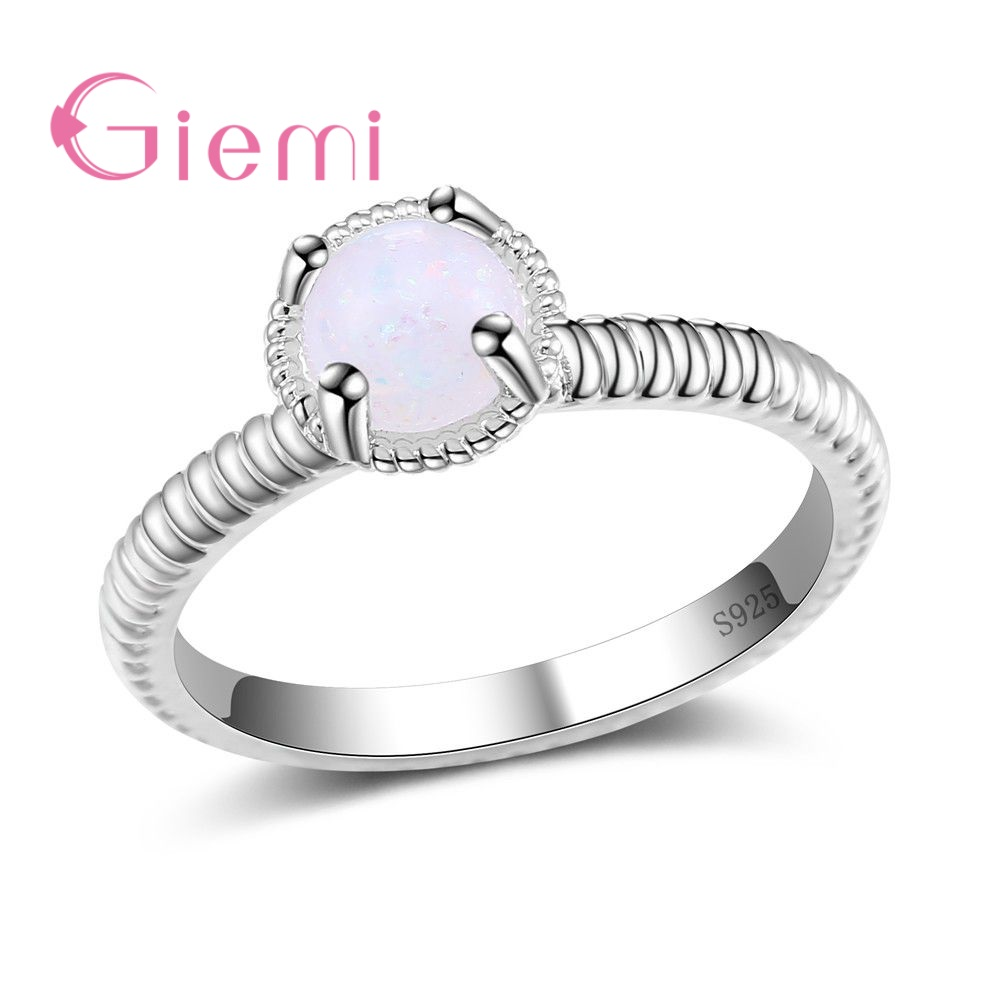 GIEMI Best Selling Simple Round Opal Rings Fine 925 Sterling Silver Wedding Jewelry Rope Band
