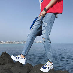 2018 весна и новые летние Для мужчин, Цвет простой отверстие джинсы модные темпера Для мужчин t Street студентов молодежи