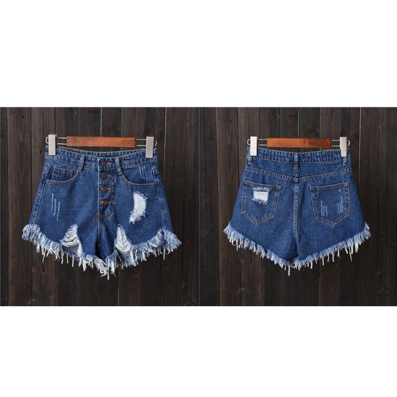 Womens Sexy High Waist Tassel Ripped Jeans Summer Large Size Denim Shorts 3