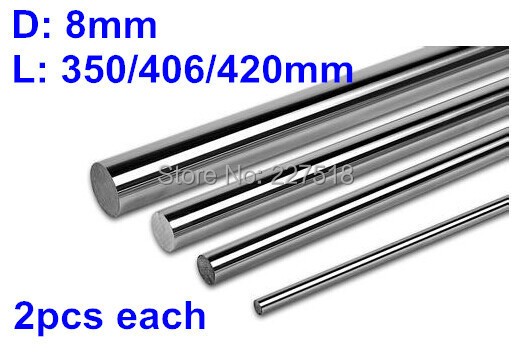 8mm L350/406/420mm Linear rail round shaft 8mm guide rail for 2pcs each length