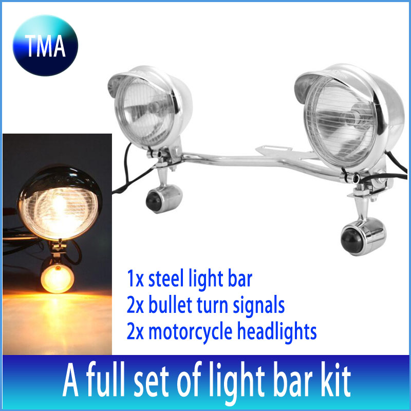 Chrome Motorcycle Headlight Fog Spot Turn Signals font b Light b font Bar Kit Bullet White