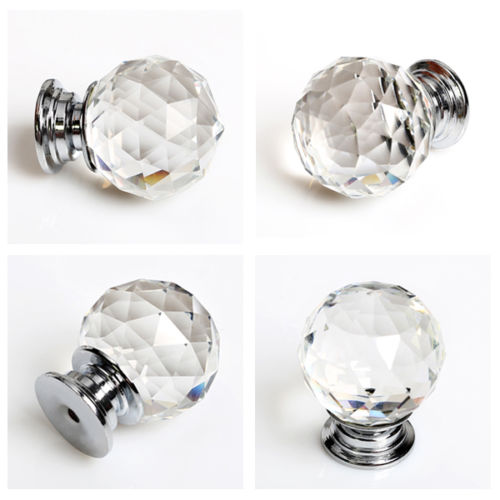 KSOL 16 X 30mm Diamond Crystal Glass Door Knob Knobs Handle Drawer Kitchen + Screws 16 30 x 45см
