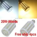 2014 Hot Cree SMD 5050 Chip E27 LED 110V/220V 20W Led light Corn lamp 86leds High brightness energy saving Led Bulb Light