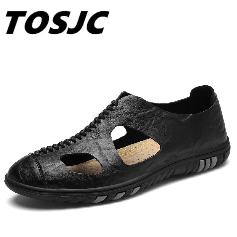 TOSJC 2018 Fashion Sandals Hollow Design Comfortable Light Leather Men Shoes Summer Shoes Men Breathable Men Sandals