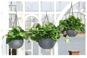 Image 5 - Cesta colgante redonda de ratán maceta de riego automático recipiente de resina de plástico para plantas suculentas plantas hogar Decoración del jardín