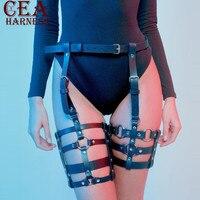 CEA.HARNESS Creative Handmade Leather Harness Garters Leg Suspenders Sexy Stockings For Women Fetish Restraints Belts Bondage