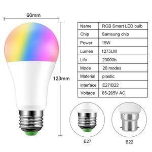 Новейшая 15 Вт RGB Bluetooth умная Светодиодная лампа E27 с регулируемой яркостью B22 RGBW RGBWW Светодиодная лампа с музыкальным голосовым управлением умная лампа для домашнего декора