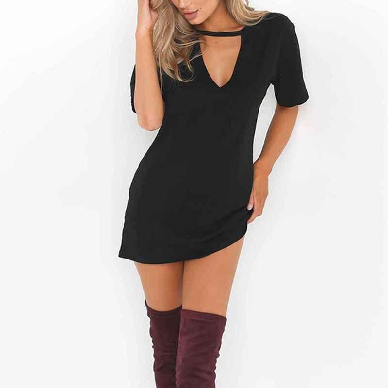 여자 짧은 소매 섹시한 삼각형 할로우 홀터 티셔츠 드레스 솔리드 컬러 딥 v 넥 미니 롱 튜닉 탑스 루스 풀오버 블라우스