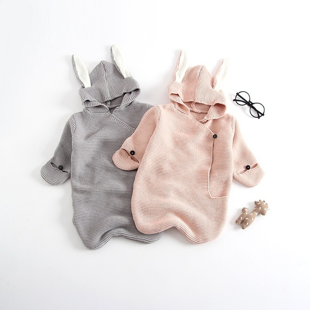 Early autumn new ins explosion models cute rabbit ears three-dimensional sleeping bag knit baby hug