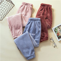 Women Winter Coral Fleece Beam Port Loose Lazy Pajama Pants Home Casual Warm Soft Multicolor Clothes Postpartum Month Pants