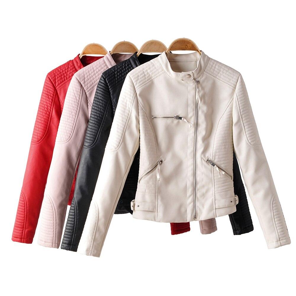New Women pu   leather   jacket fall 2019 vintage winter bright white biker jacket vintage faux   leather   zipper coat