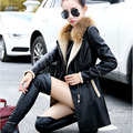 Occident Style Fur collar Leather Coat thick 2016 New Winter Warm Jacket Women PU Leather Trench Coat Female Overcoat Plus Size
