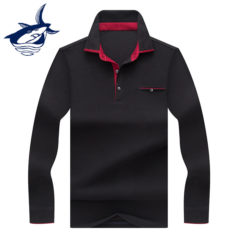 New Tace & Shark   Polo   Shirt Men Long Sleeve Soft Cotton Solid Lapel Smart Casual Men's Camisa Blouse Undershirt Men   polo   shirt