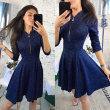 Style elegant vintage a-line solid woman dresses  style half sleeve zipper empire knee length female dresses 2018 summer fashion solid simple style a line dress woman o neck short sleeve elegant empire knee length party dresses c1455
