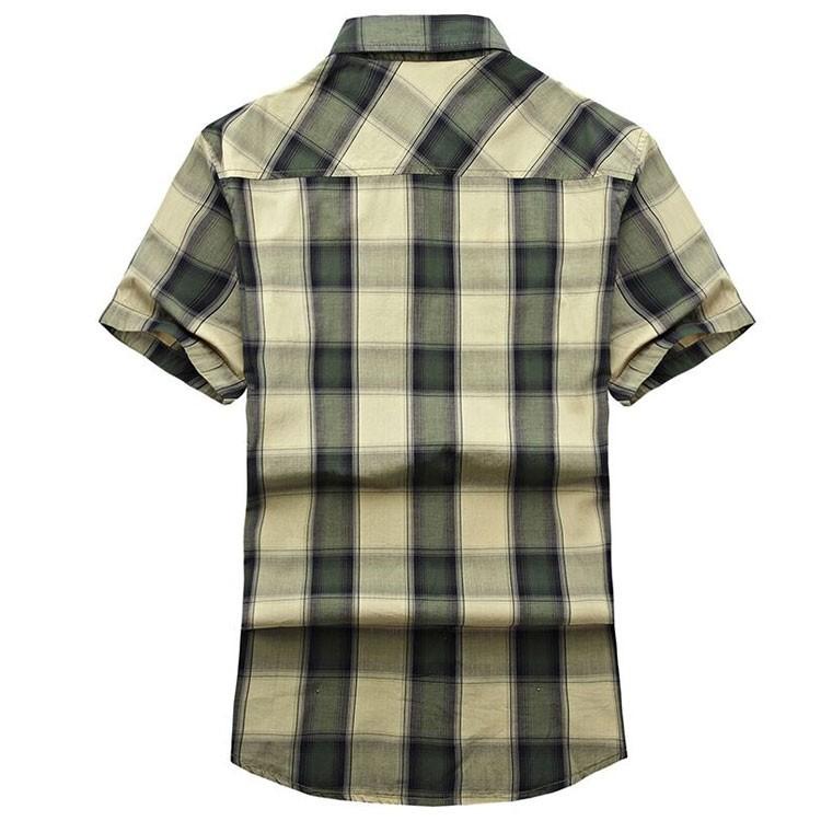 Red Green 2015 Summer Plaids Men Cotton Short Sleeve Dress Shirts Camisa Hombre Breathable Blouse Vestido Men Clothes Casual 3XL (2)