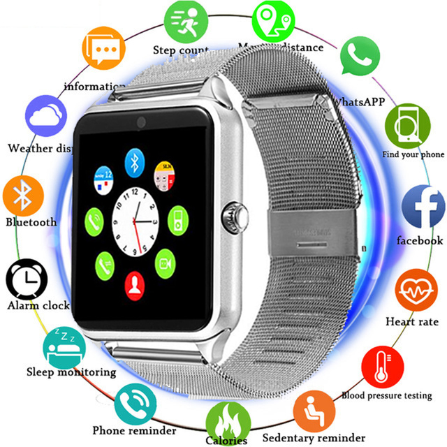 Z60 Smart Watch GT08 Plus Metal Strap Bluetooth Wrist Smartwatch Support Sim TF Card Android&IOS Multi-languages PK S8 V8 Y1 X7D